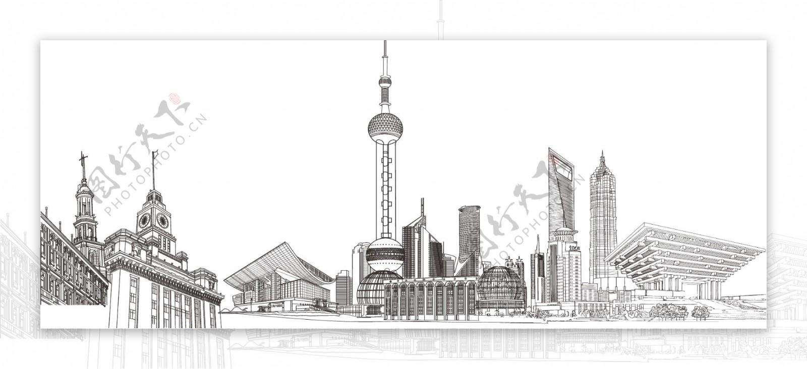 上海标志性建筑线稿矢量素材图片