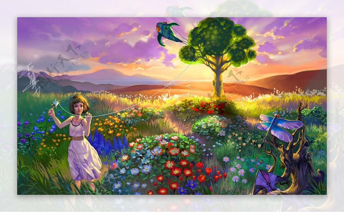油画黄昏的花海图片