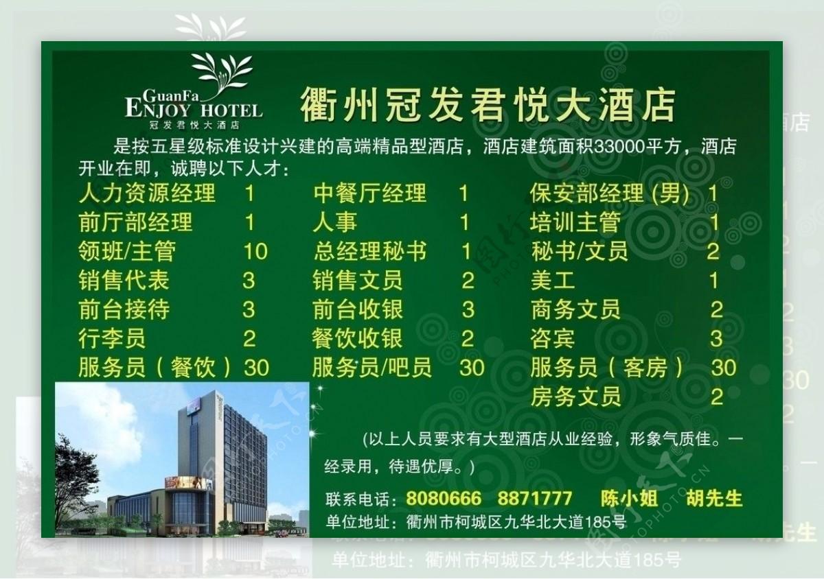 酒店招聘广告图片