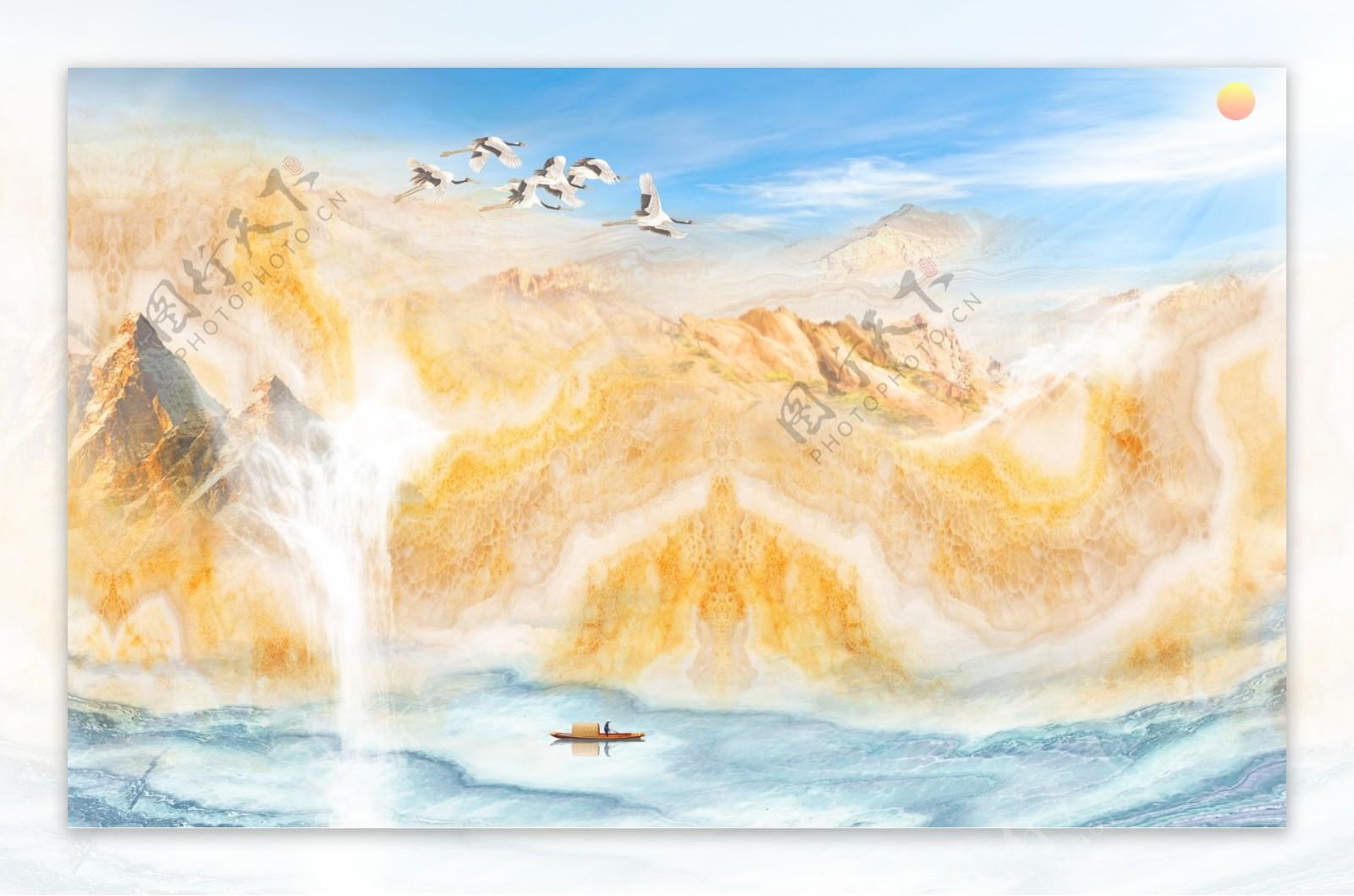 新中式抽象水墨山水日出背景墙图
